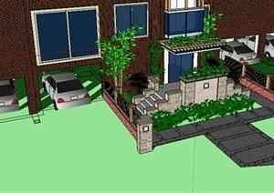 现代住宅入口台阶设计SU(草图大师)模型