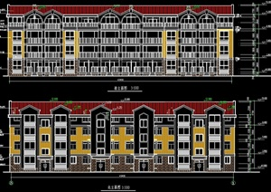 欧式多拼小区别墅设计cad施工图纸