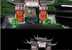 古典中式风格牌坊照壁max模型及效果图