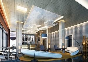 某现代客厅详细设计3d模型