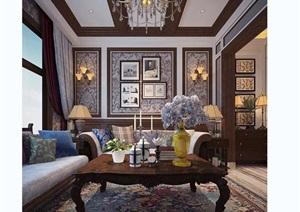 欧式客厅详细设计3d模型