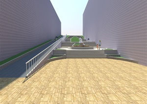 某园林景观道路台阶设计SU(草图大师)模型