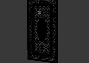 中式详细墙饰素材设计3d模型