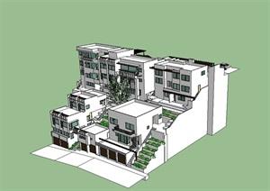 现代详细多层完整的住宅楼设计SU(草图大师)模型