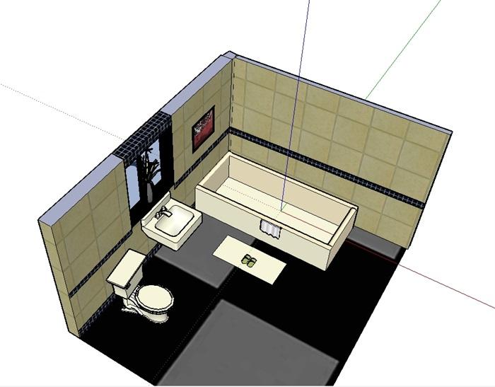 某卫浴室内空间设计su模型(3)