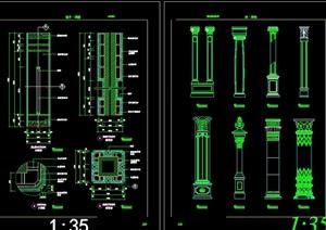 13个柱装饰建筑cad详图