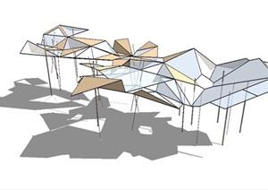 多款抽象艺术雕塑、廊架SU(草图大师)模型
