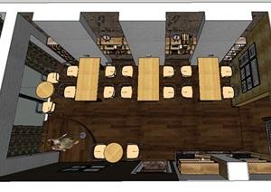 中式室内餐厅空间设计3d模型