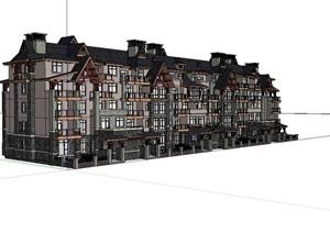 美式多层小区住宅楼设计SU(草图大师)模型