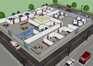 某室内医院空间设计SU(草图大师)模型