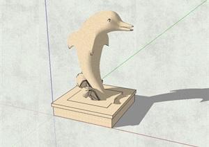 海豚动物雕塑设计SU(草图大师)模型