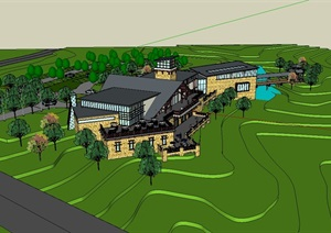 东南亚详细的会所建筑设计SU(草图大师)模型