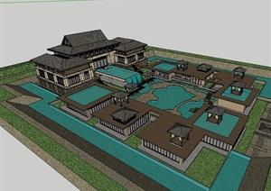 东南亚详细商务会所建筑设计SU(草图大师)模型