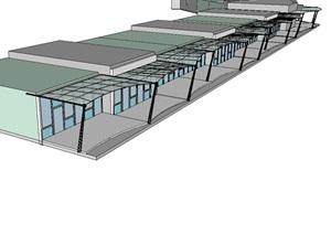 景觀鋼構架遮雨棚設計SU(草圖大師)模型
