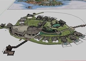 北湖岛会所详细建筑设计SU(草图大师)模型