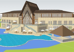 东南亚风格会所SU建筑模型