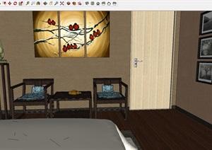 新中式客房室内设计方案SU模型