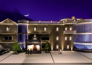 别墅建筑夜景效果设计SU(草图大师)模型