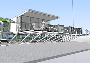 集装箱独特办公建筑SU(草图大师)模型