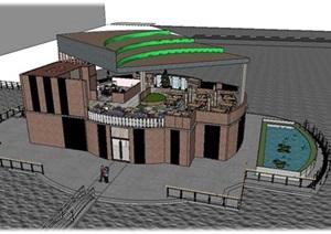 音乐情侣主题餐厅水上建筑SU(草图大师)及餐饮空间设计