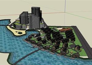 某详细的住宅小区楼建筑SU(草图大师)模型