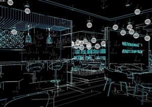 现代风格小型餐厅空间3d模型
