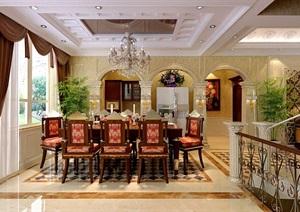 欧式别墅餐厅室内设计max模型