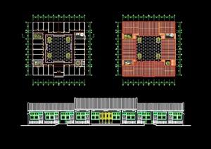 四合院办公建筑cad方案