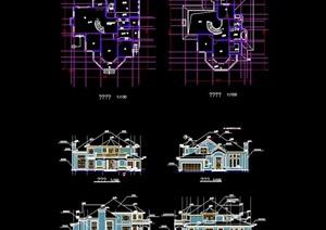 单体别墅建筑cad方案