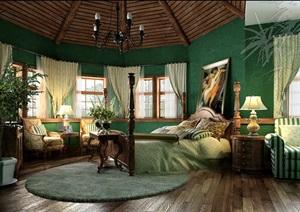 某欧式卧室空间装饰3d模型