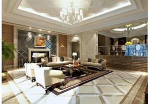 某别墅客厅详细设计3d模型