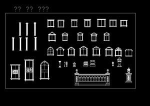 欧式罗马建筑构件cad线条集