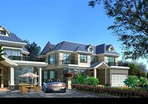 欧式别墅建筑结构cad施工图带效果图