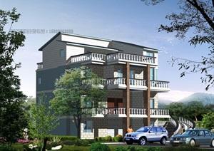 多层别墅建筑设计cad方案及机构图