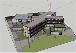 旅馆多层建筑设计SU(草图大师)模型含cad及psd排版