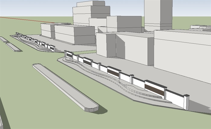 围墙绿化组合设计su模型(1)