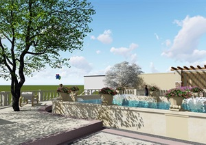 欧式详细的别墅建筑及庭院设计SU(草图大师)模型
