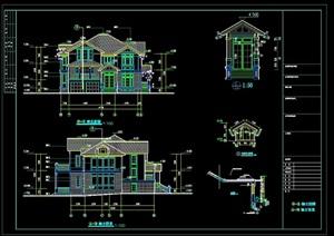 框架别墅建筑结构cad方案套图