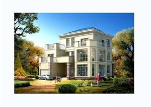 独栋三层别墅设计cad方案图