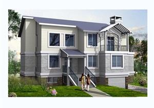 某欧式独栋二层别墅建筑设计cad方案图