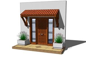 某中式建筑門頭設計SU(草圖大師)模型