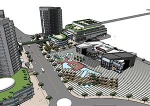电影院影视文化中心建筑设计设计SU(草图大师)模型含cad、psd排版