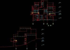 独栋多层别墅设计cad方案图
