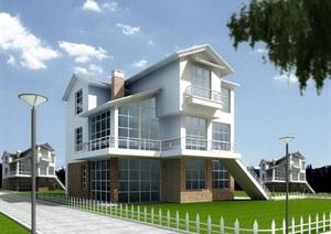 独栋多层的别墅设计cad结构图