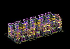 公寓住宅楼设计cad、3d模型