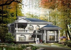 某欧式独栋别墅设计psd效果图