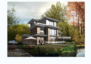 多层详细独栋别墅设计cad方案图