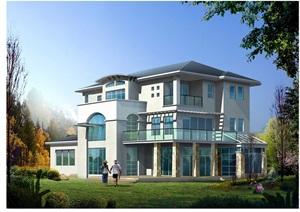 欧式多层别墅设计cad图纸及3DMAX模型