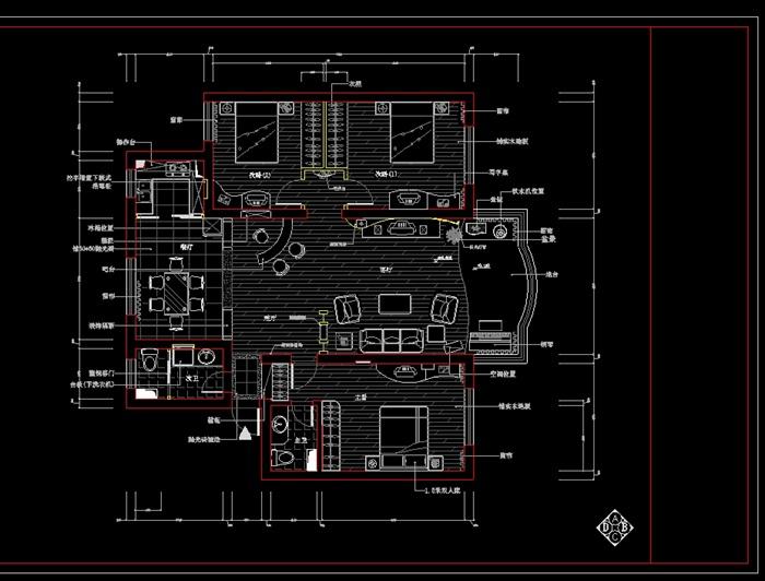 某别墅装修室内设计cad图纸(1)