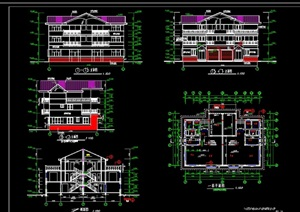 三层双拼别墅cad方案图